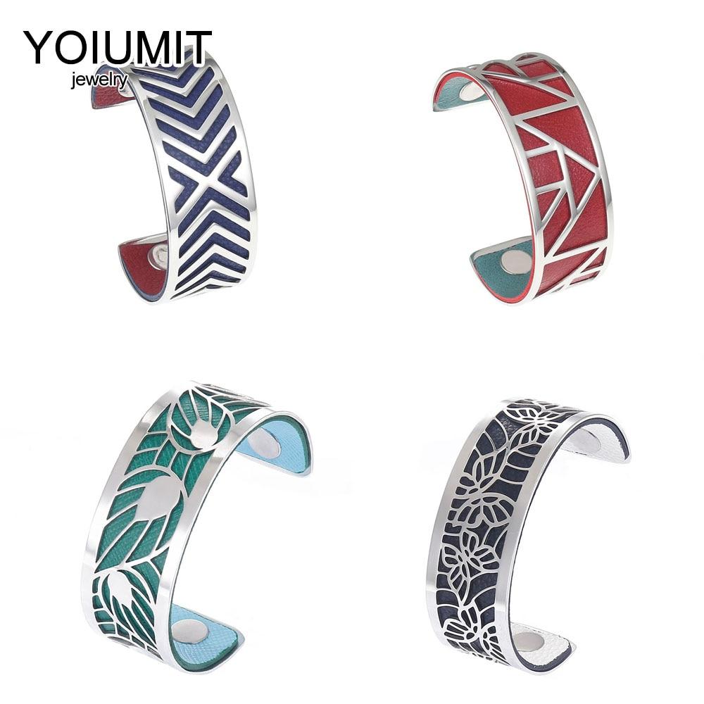 Cremo bras large Bracelets Argent Manchette Bracelets pour femmes bijoux Manchette Bracelet Manchette Femme Interchangeable cuir Pulseira