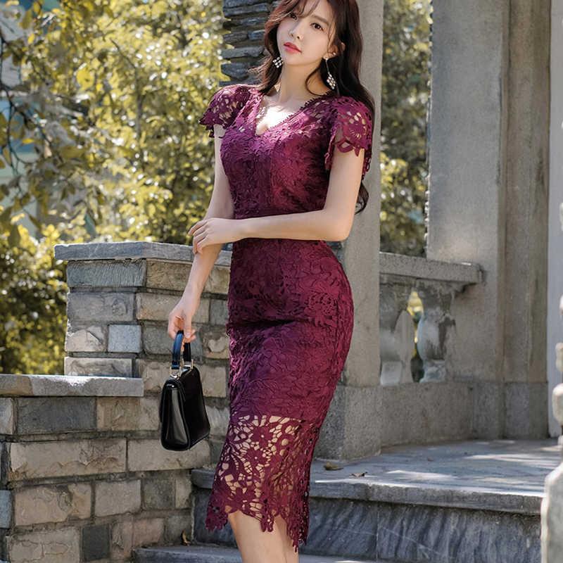 H Han Queen SEXY Hollow OUT Lace ชุดดินสอผู้หญิงฤดูใบไม้ร่วงใหม่ V คอ Sheath Bodycon ชุดลำลองชุดราตรีคลับ vestidos