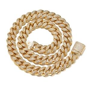 Voller Strass Iced Out Miami Curb Kubanischen Kette Halskette Länge Gold Gepflastert CZ Bling Halsketten Für Männer Hip Hop Schmuck