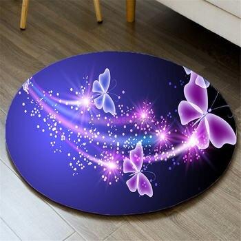 Alfombra de área de dormitorio nórdico, alfombra para puerta, Alfombra de franela con diseño de mariposa en 3D, nota musical, Felpudo de baño, estera antideslizante para silla