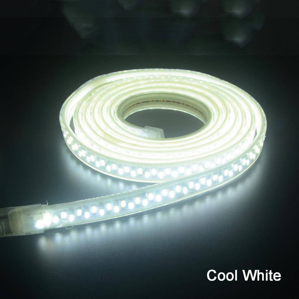 SMD 5630 Waterproof LED Tape 5730 LED Strip Light 220V 180led/m With Power Plug White/Warm White 1m 2m 3m 4m 5m 6m 7m 10m