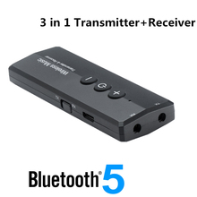 3 in 1 Bluetooth 5.0 Transmitter Receiver for TV Car Kit with Control Button Stereo Audio 3.5mm Aux Jack Wireless Adapter