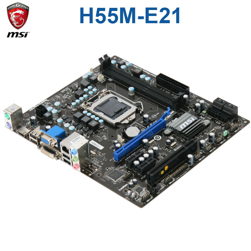 MSI H55M-E21 Motherboard Intel H55 LGA 1156 DDR3 8GB DDR3 1600 Core i7/Core i5/Core i3 desktop H55 Mainbaord DDR3 1156
