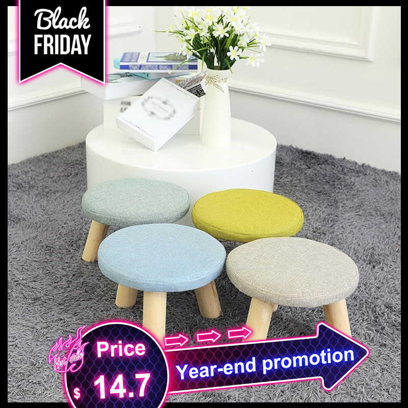 Nordic Style Footstool Seat Stool With Removable Cover 3 Legs Modern Solid Wood Ottoman with Luxury Upholstered Pouf