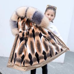 ¡Novedad de otoño-invierno 2020! Parkas desmontables con forro de piel de zorro de imitación para niños y niñas, abrigos cálidos gruesos K188