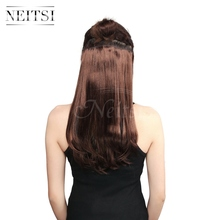 Neitsi 14'' 3PcsSet 75G 8 Clips Straight Synthetic Clip In Hair Extensions Heat Resistant Fake Hairpiece Red Brown Color