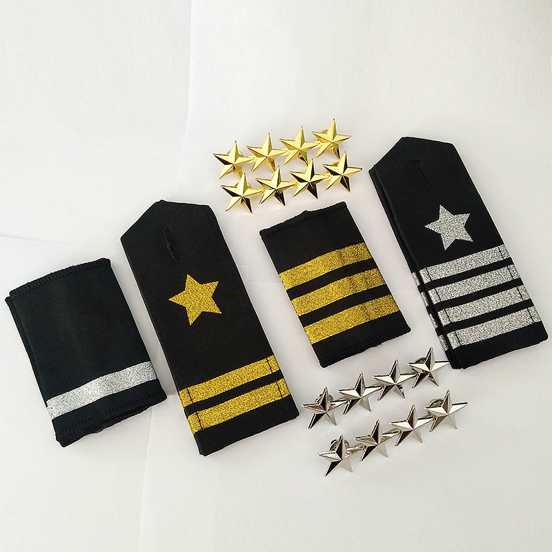1/2/3/4 Gold Silver Bars Stars Airline Pilot Epaulette Security Uniform Performance Shirts Coats Epaulette