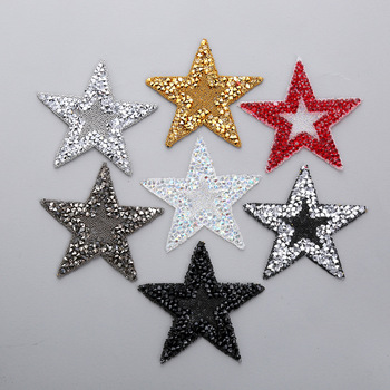 Hot Crystal Rhinestone Star Iron on Patches Bling Embroidered Applique For Clothing Shoe Bag Heat Transfer Sticker Stripes DIY image