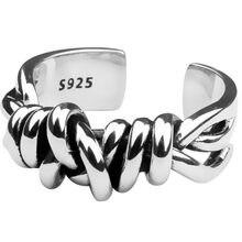 Anel atado anéis de dedo tecido feminino criativo cobre retro linha abertura ajustável anéis jóias cor prata