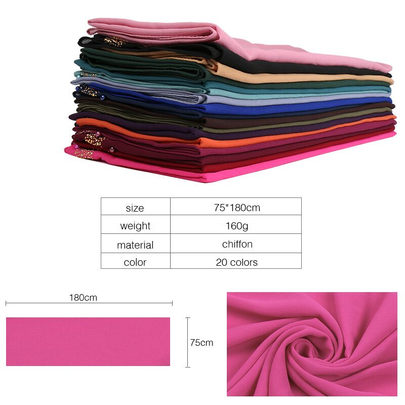 Image 3 - Beads bubble chiffon hijab scarf glitter hijab plain shawls muslim scarves headscarf pearls wraps headband scarves 10pcs/lot-in Women's Scarves from Apparel Accessories