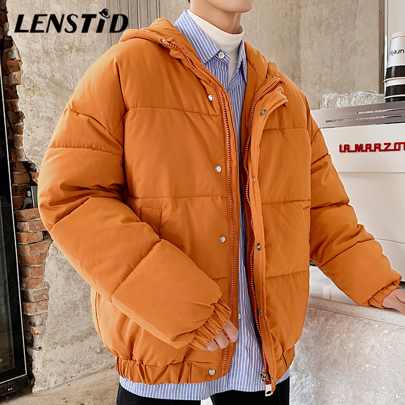 LENSTID Men Winter Puffer Warm Padded Jackets Parka 2019 Japanese Harajuku Male Casual Trench Coats Hooded Windbreaker Snow Wear