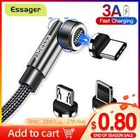 Essager 3A Schnelle Lade Magnetische Kabel Micro USB Typ C Daten Magnet Ladegerät Für iPhone Xiaomi Handy 540 Drehen draht Kabel