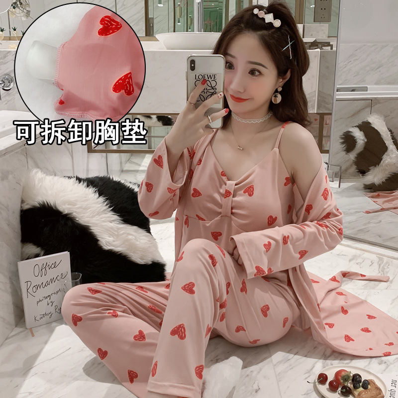 According To Feminine Japanese-style Women's Robes Mid-length Pajamas Women's Spring And Autumn Splittable Chest Pad Cup Long Sl