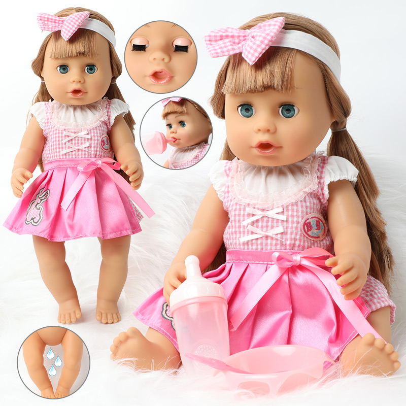 18 inch reborn doll 46 cm DIY Bebe lifelike newborn baby dolls fashion Long hair waterproof silicone Feeding bottle for toys image