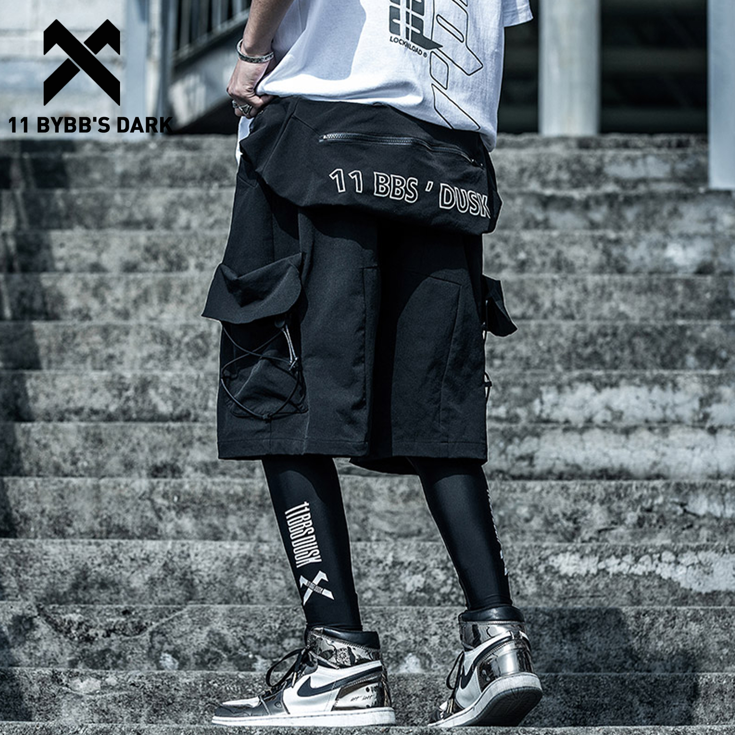11 BYBB'S DARK Reflective Pockets Style Cargo Shorts Men 2020 Summer Tactical Knee Length Short Pants Joggers Shorts Streetwear