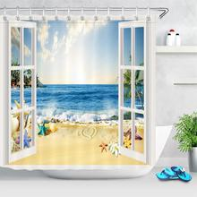 White Wooden Window Sea Beach Shower Curtain Waterproof Starfish Tropical Palm Trees Ocean Bedroom Curtains Set With Hooks