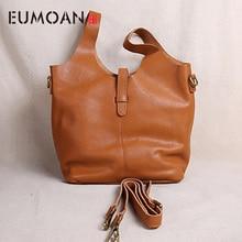 цены EUMOAN Leather women's bag, head leather style handbag, retro casual large-capacity one-shoulder slanted bag