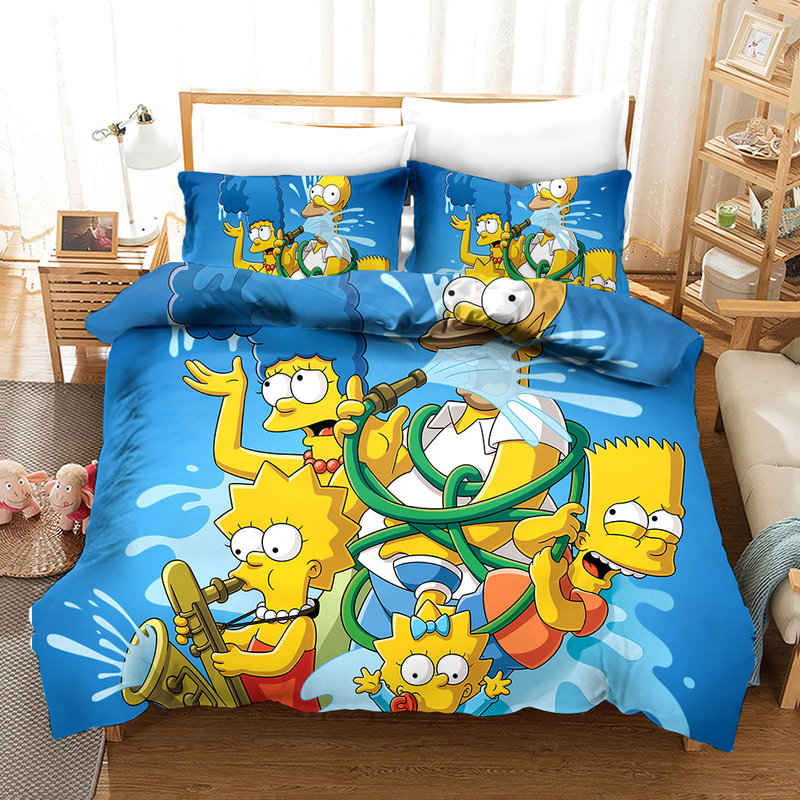 3D The Simpson Bedding Set Funny Cartoon Anima Simpson Duvet Cover Set For Kids Pillowcases Children Bed Linens Comforter Cover