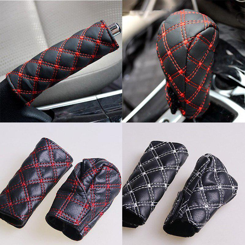 Adeeing Car Faux Leather Gear Shift Knob Cover Hand Brake Cover Sleeve Car Interior Protect Decoration Cover