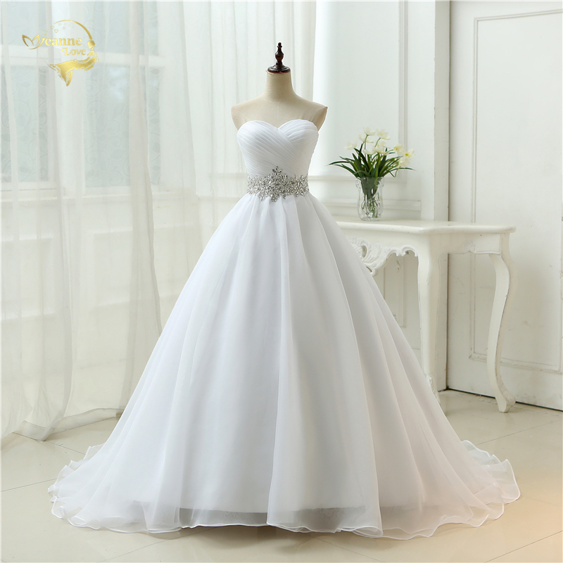 Hot Sale White Vestido De Noiva 2019 New Design A Line Perfect Belt Robe De Mariage Strapless Lace Up Wedding Dresses OW 7799