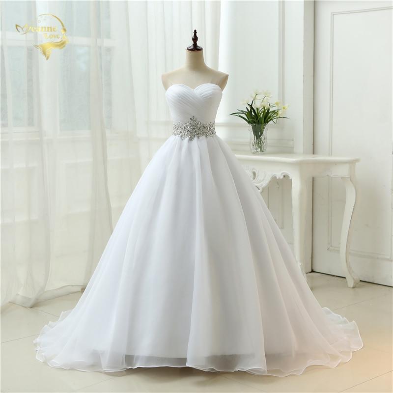 Hot Sale White Vestido De Noiva 2020 New Design A Line Perfect Belt Robe De Mariage Strapless Lace Up Wedding Dresses OW 7799