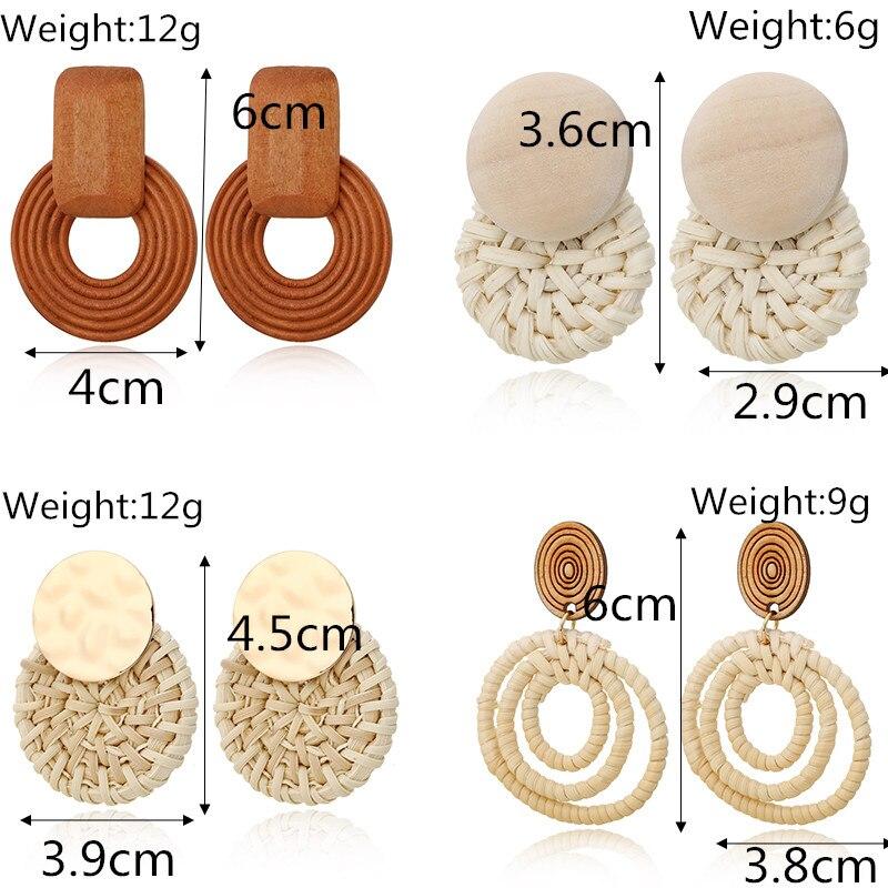 XIYANIKE Bohemian Korean Handmade Bamboo Wood Geometric Rattan Weave Straw Knit Vine Drop Earrings For Women Boho Party Jewelry