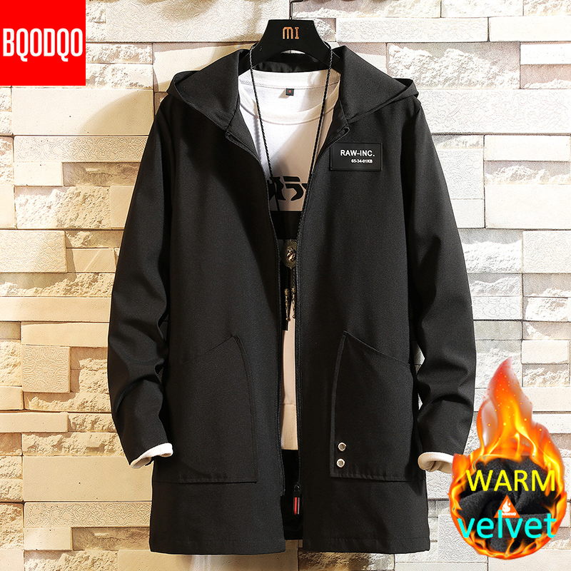 Warm Winter Long Trench Coat Men Military Style Hooded Casual Windbreaker Black Hip Hop Streetwear Autumn Oversized Men's Jacket