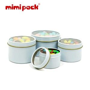 Image 3 - חבילה של 24 לשימוש חוזר עגול מתכת מזון אחסון מכולות mimipack Tinplate מיכל פח קופסות עם ברור מכסה עבור מתנות