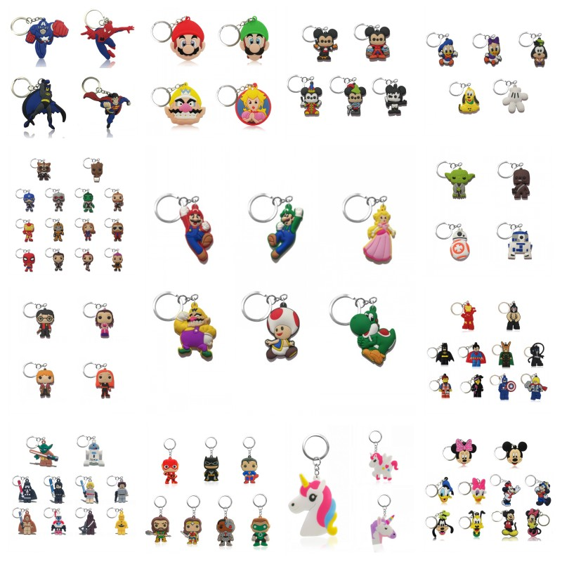 20pcs Cartoon Keychains Mickey Avenger Key Ring Super Mario Key Chain Superheroes Key Holder Fashion Trinkets Kids Xmas Gift image