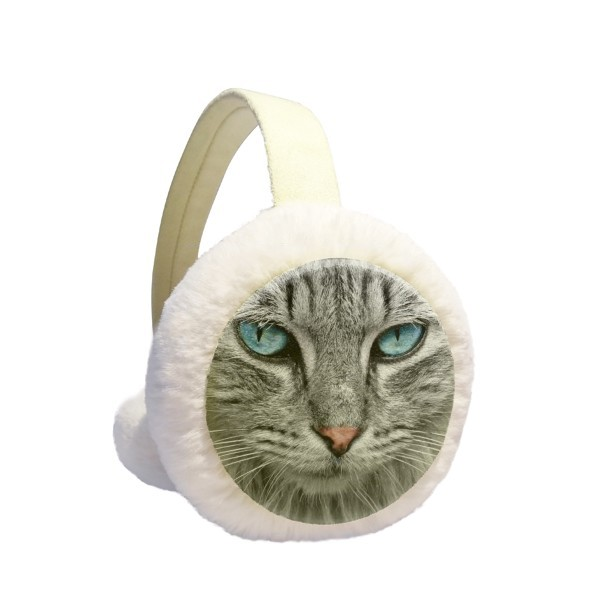 Grey Cat Animal Wild Stare Blue Eyes Winter Earmuffs Ear Warmers Faux Fur Foldable Plush Outdoor Gift