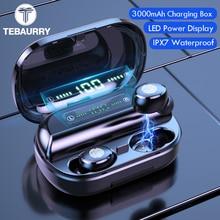 Fone de ouvido 9d bluetooth 3000 estéreo wireless, fone auricular com controle pelo toque, à prova d água ipx7 e com banco de energia de 5.0 mah
