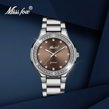 Relogio Feminino MISSFOX Hot Women Watches Brown Dial Waterproof Stainless Steel Quartz Watch Female Clock Ladies Wrist Watch