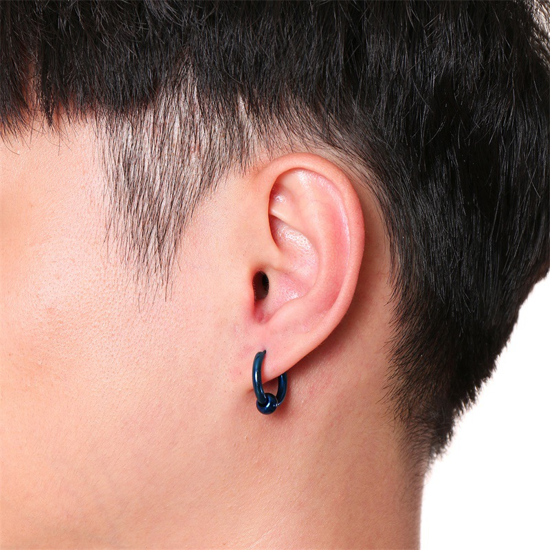 Punk 5 Colors Stainless Steel Circle male Earrings Simple Removable Bead Hoop Earrings for Men Women
