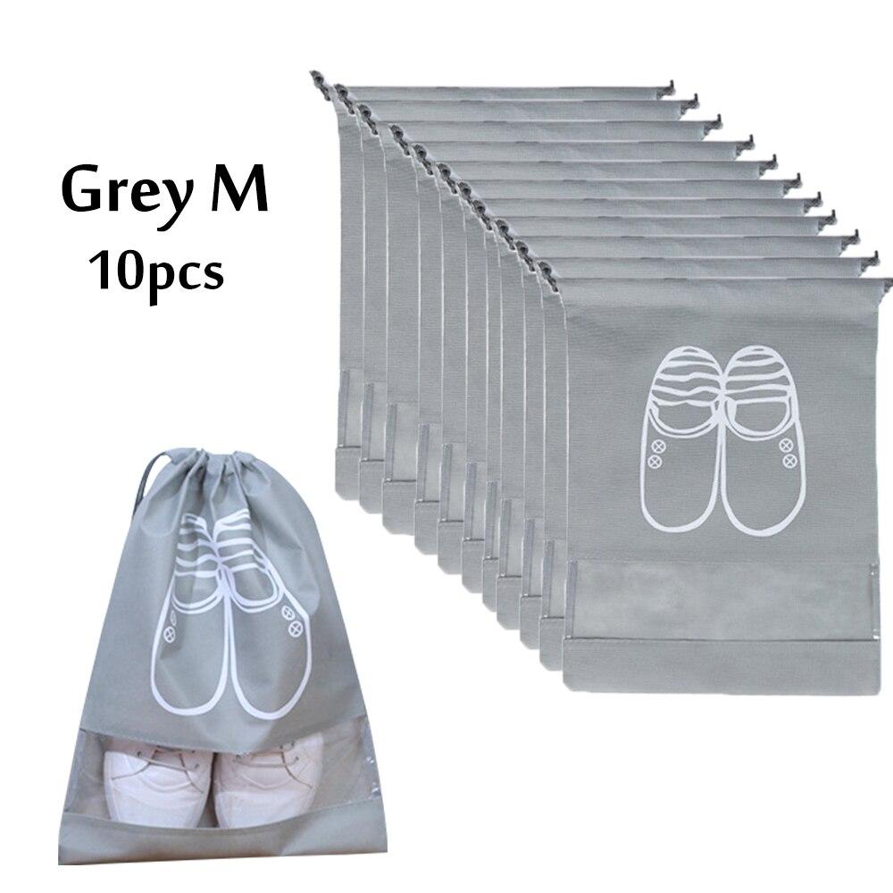 Sacos transparentes do armazenamento das sapatas da economia do espaço da janela do cordão 10 pacote sacos do organizador das sapatas do curso para botas, salto alto