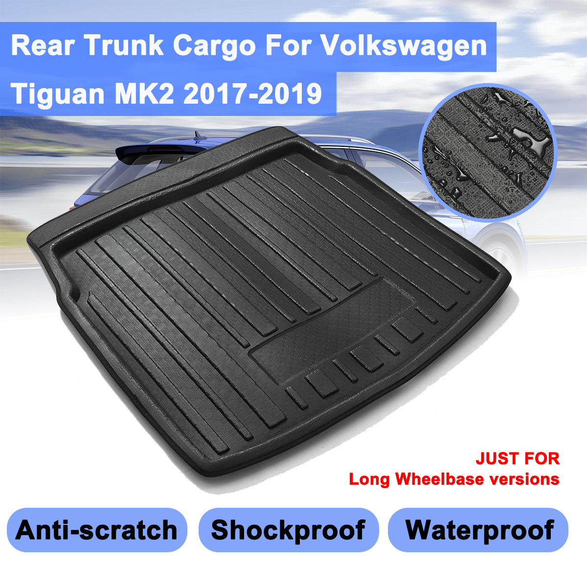 Car Cargo Liner Boot Tray For VW Tiguan MK2 For Volkswagen2017 2018 2019 Rear Trunk Cover Matt Mat Floor Carpet Kick Pad
