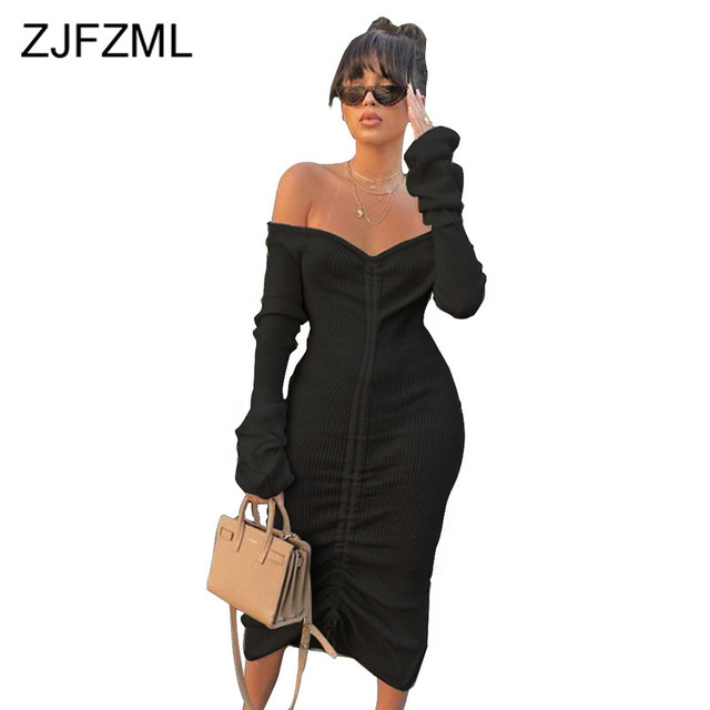 Front Drawstring Sexy Bandage Dresses Women White Slash Neck Long Sleeve Club Party Dress Autumn Winter Off Shoulder Maxi Dress 3