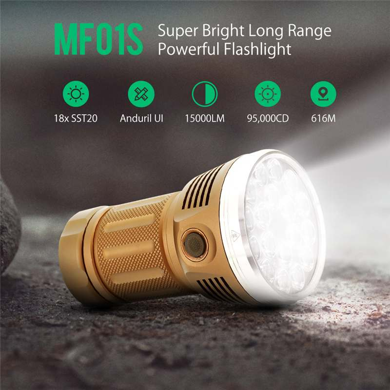 Astrolux MF01S 18x SST20 15000LM 616M Detector Anduril UI 18650 Flashlight High CRI Bright Searching Flashlight Hunting Torch