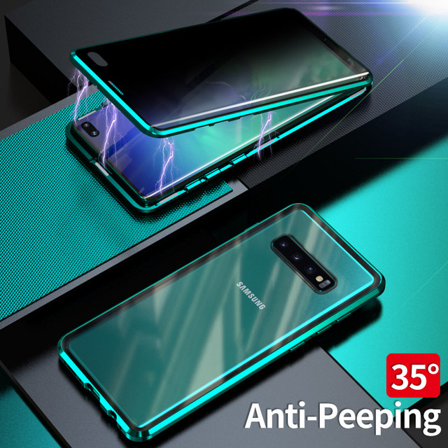 Case For Samsung Galaxy S8 S9 S10 Plus S10e Cover Anti Spy 9H Full Privacy Tempered Glass Screen Protector Metal Magnet case
