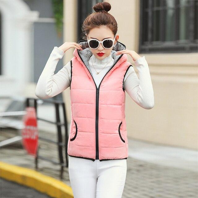 Fitaylor New Autumn Winter Women Vest Cotton Hooded Casual Slim Waistcoat Female Sleeveless Jacket 5