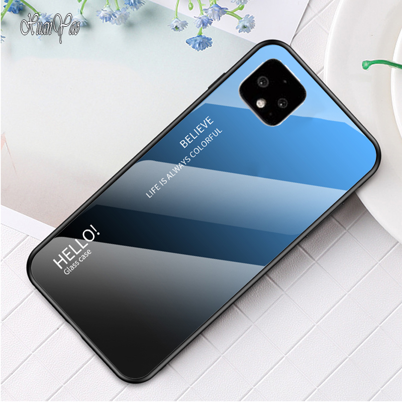 Cover For Google Pixel 4 XL Case Glass Back Cover For Google Pixel 4 Case Silicone Tempered Glass Back Cover Pixel 4 XL