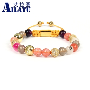 Image 2 - Ailatu New Bracelets for Women Mix Natural Stones Braiding Bracelet Cz Jewelry Stainless Steel Logo Beads Top Quality