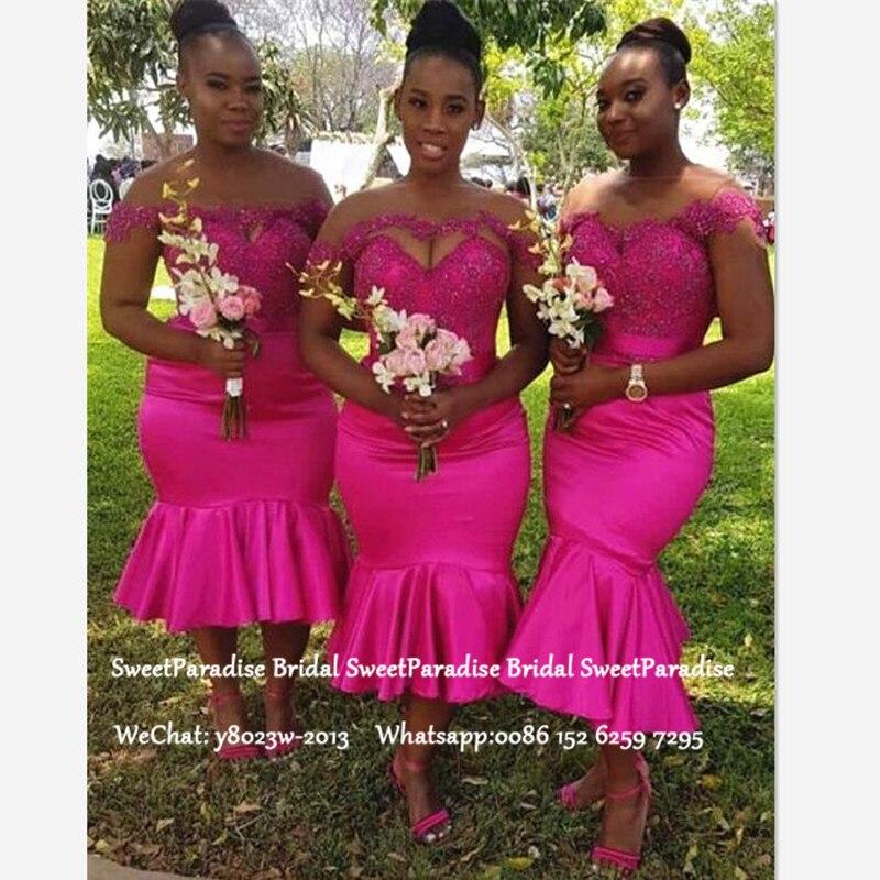 Women Tea Length Mermaid Bridesmaid Dresses With Appliques Lace Fushcia Long Off Shoulder Wedding Guest Dress Party Gown