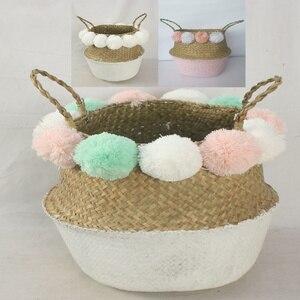 Cesta colorida para lavanderia e decoração, cesto com jardim, plantas, pompons, flor, cesta, guarnição, roupas, jardim, cores