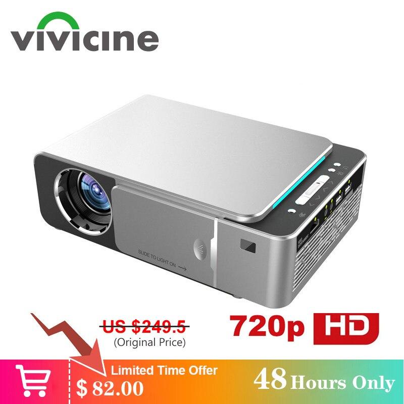 Vivicine 1280x720p projetor hd portátil, opção android 7.1 hdmi usb 1080p casa teatro proyector wifi mini led beamer