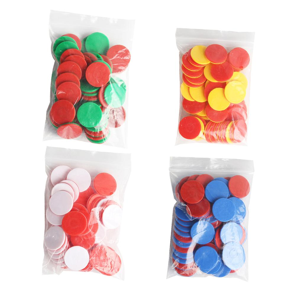 50Pcs Kids Math Counters Dual Color Round Chips Counting Numbers Math Game Counters Teaching Aids