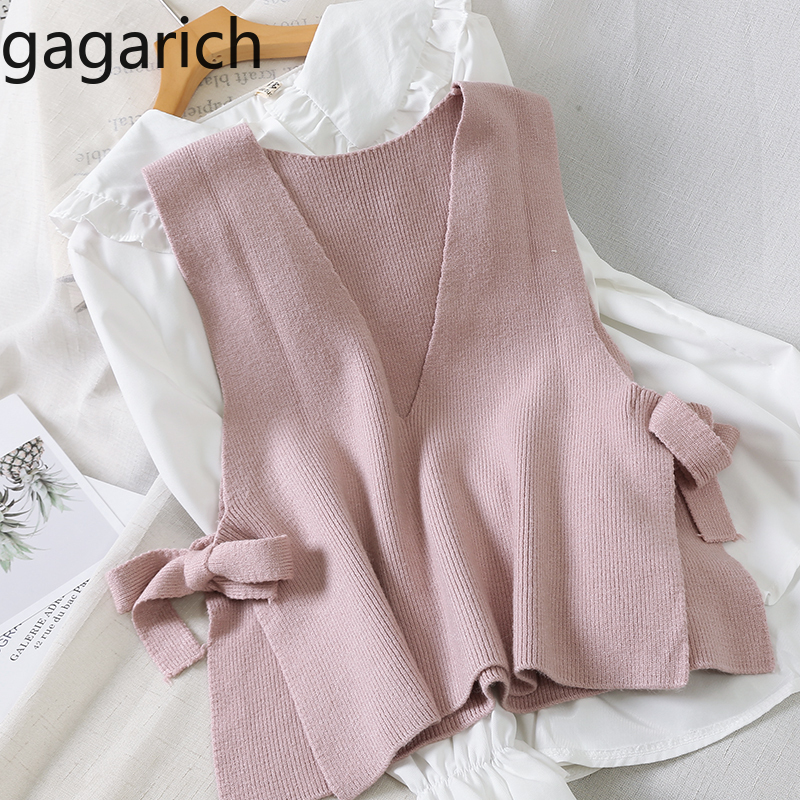 Gagarich Women Knitting Vest Korean V Neck Bow Lace Up Sleeveless Outwear Waistcost Female Spring Autumn Soft Sweater Vests