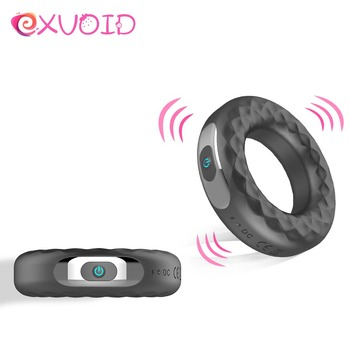 EXVOID 10 Frequency Delay Ejaculation Cock Silicone Rings Strong Vibrator Sex Toys for Men Male Erection Penis Vibrating Ring