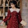2020 Autumn New Arrival High Quality Retro Peter Pan Collar Flower Printed Women Long Cotton Dress 2