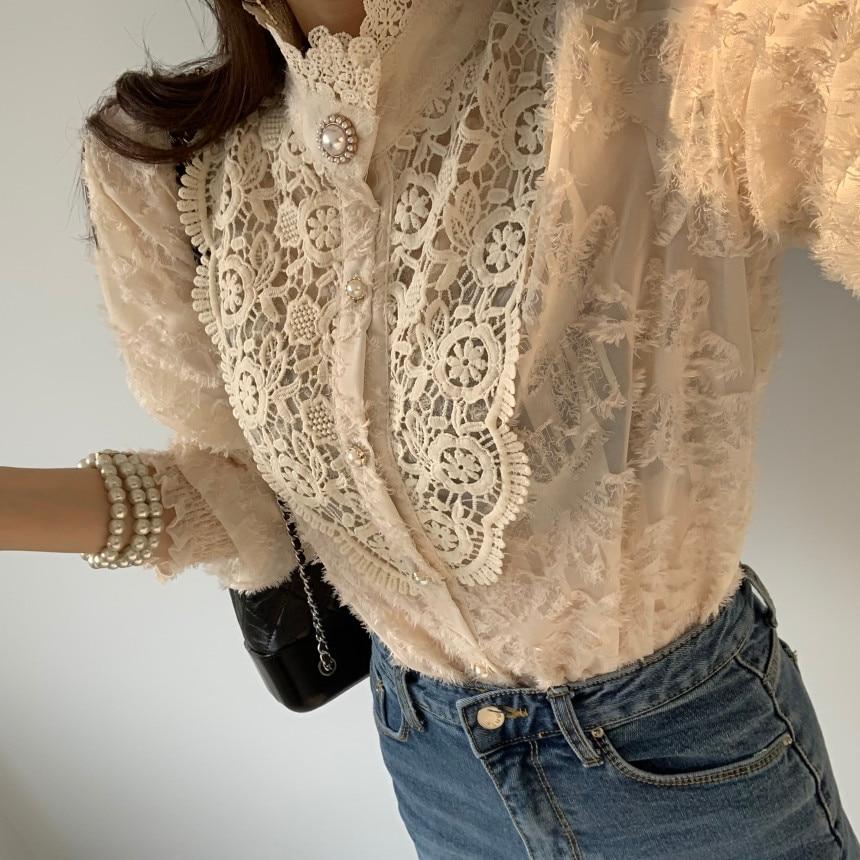 He146bc8c3eda45dd84234976764bda8fg - Spring / Autumn Korean Stand Collar Long Sleeves Crochet Lace Button Blouse