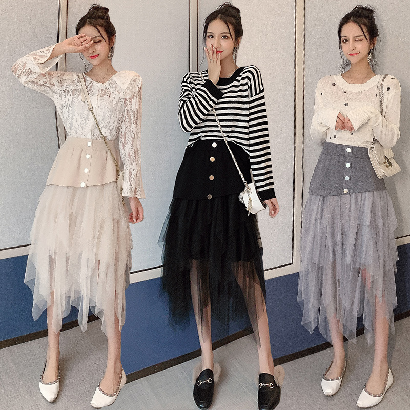 Photo Shoot Irregular Mesh Dress Knitted Skirt Women's Autumn And Winter High-waisted Black And White With Pattern Mid-length Mu